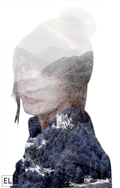 Elsa Jensen, Elsa Creates, double exposure, double exposure in photoshop, photoshop, double exposure photo, self portrait, self portrait exposure, germany, creative project, creative photography,