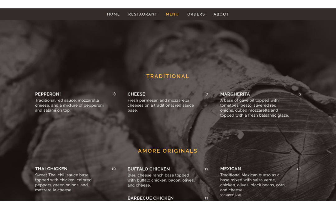 Pizzeria Amore Website